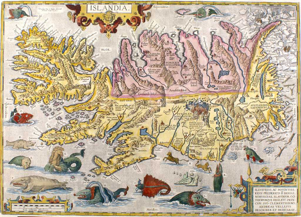 1590 map of Iceland by Abraham Ortelius